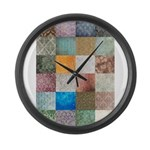 Patchwork Quilt squares patte Large Wall Clock