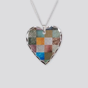 Patchwork Quilt squares patte Necklace Heart Charm
