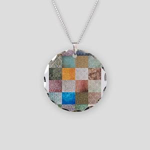Patchwork Quilt squares patte Necklace Circle Char