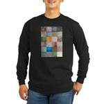 Patchwork Quilt squares patte Long Sleeve Dark T-S