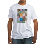 Patchwork Quilt squares patte Fitted T-Shirt
