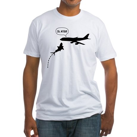 MegaShark Attacks Plane Fitted T-Shirt