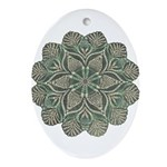 Green and Black Lacey Doily d Ornament (Oval)