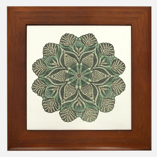 Green and Black Lacey Doily d Framed Tile