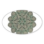 Green and Black Lacey Doily d Sticker (Oval)
