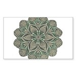 Green and Black Lacey Doily d Sticker (Rectangle)