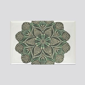 Green and Black Lacey Doily d Rectangle Magnet