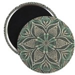Green and Black Lacey Doily d Magnet