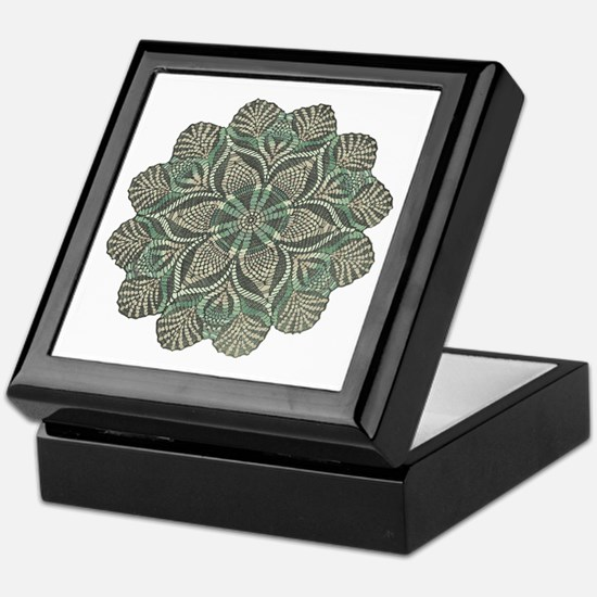Green and Black Lacey Doily d Keepsake Box
