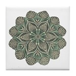 Green and Black Lacey Doily d Tile Coaster