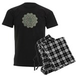 Green and Black Lacey Doily d Men's Dark Pajamas