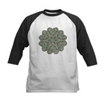 Green and Black Lacey Doily d Kids Baseball Jersey