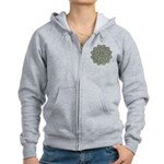 Green and Black Lacey Doily d Women's Zip Hoodie