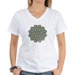 Green and Black Lacey Doily d Women's V-Neck T-Shi