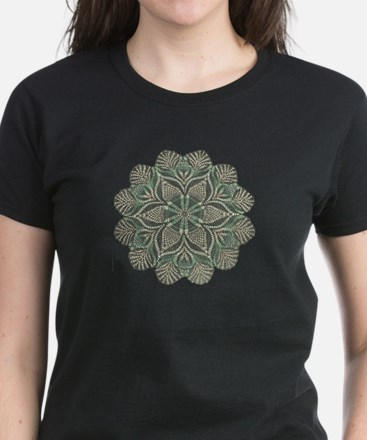 Green and Black Lacey Doily d Women's Dark T-Shirt