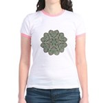 Green and Black Lacey Doily d Jr. Ringer T-Shirt