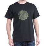 Green and Black Lacey Doily d Dark T-Shirt