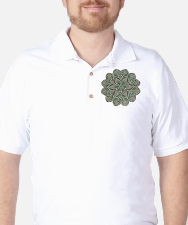 Green and Black Lacey Doily d Golf Shirt