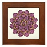Pink and black flowery Lace D Framed Tile