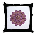 Pink and black flowery Lace D Throw Pillow