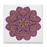 Pink and black flowery Lace D Tile Coaster