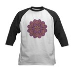 Pink and black flowery Lace D Kids Baseball Jersey