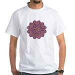 Pink and black flowery Lace D White T-Shirt