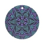 Blue stain glass and lace ins Ornament (Round)