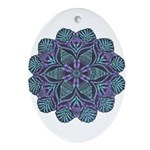 Blue stain glass and lace ins Ornament (Oval)