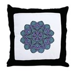 Blue stain glass and lace ins Throw Pillow