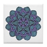 Blue stain glass and lace ins Tile Coaster