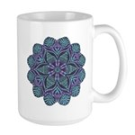 Blue stain glass and lace ins Large Mug