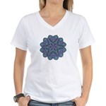 Blue stain glass and lace ins Women's V-Neck T-Shi