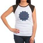 Blue stain glass and lace ins Women's Cap Sleeve T
