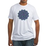 Blue stain glass and lace ins Fitted T-Shirt
