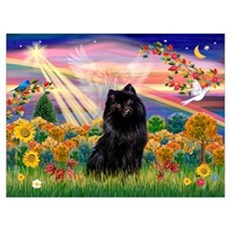 Autumn Angel and Schipperke. Wall Art Poster