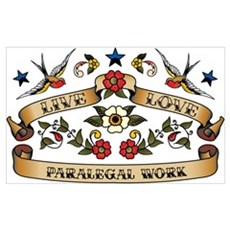 Live Love Paralegal Work Wall Art Poster
