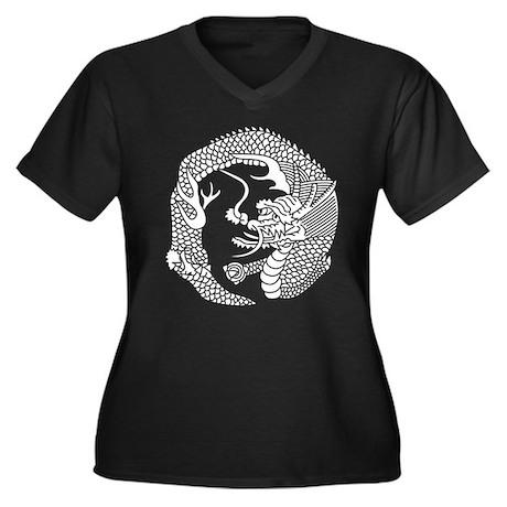 ryuu no maru Women's Plus Size V-Neck Dark T-Shirt