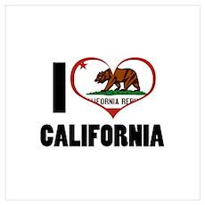 I Love California Wall Art Poster