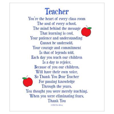 Teacher Thank You Wall Art Poster