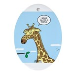 Giraffe Foraging Foibles Ornament (Oval)