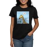 Giraffe Foraging Foibles Women's Dark T-Shirt