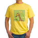 Giraffe Foraging Foibles Yellow T-Shirt