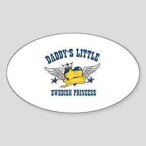 Daddy's Little Swedish Princess Sticker (Oval)
