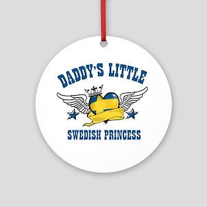 Daddy's Little Swedish Princess Ornament (Round)