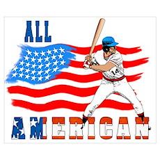 New SeAll American BaseBall P Wall Art Poster