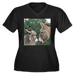 Donkeys women's plus-size V-neck dark T-shirt