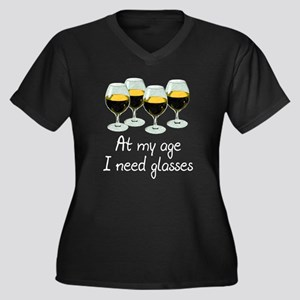 At my age I need glasses Women's Plus Size V-Neck