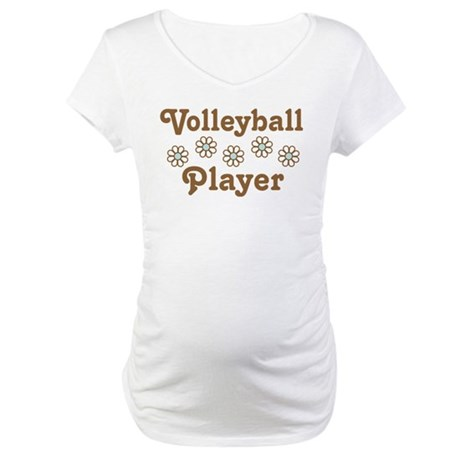 Volleyball Player Daisy Gift Maternity T-Shirt