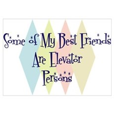 Elevator Persons Friends Wall Art Poster